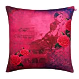 "India Circus Deep in Thought Poly Velvet Cushion Cover - 20""x20"", Multicolour"