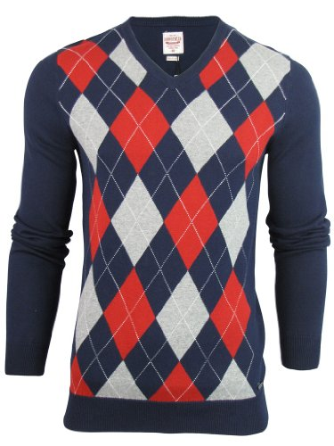 Mens Lambretta Mod Retro Argyle Diamond Knitt Jumper Fine Gauge V Neck [XX-Large]