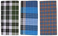 Emerald COTTON Mens Cotton Lungis- Pack of 3 (Multi-Coloured)