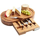 VonShef Oval Slide Out Bamboo Cheese Board and 4 Piece Knife Set