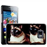 Fancy A Snuggle Pair Of Blue Eyed Cats Design Hard Case Clip On Back Cover for Samsung Galaxy S2 i9100
