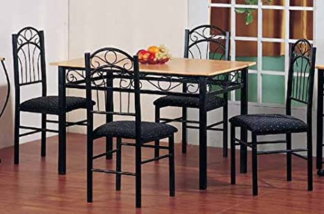 5-pc Pack Dinette Oak Wooden Top Table and 4 Black Chairs ADS90583