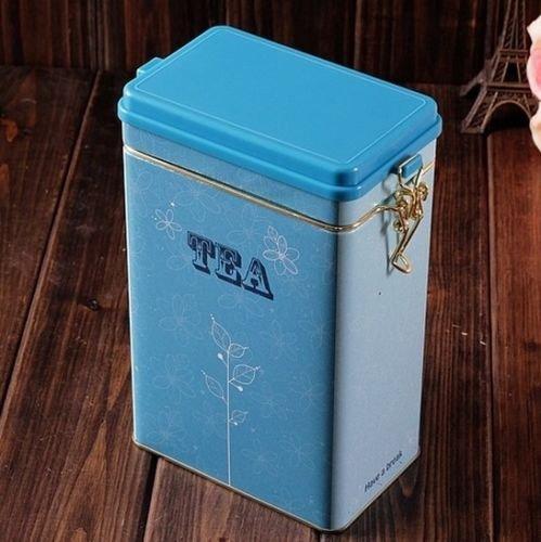 Decorations Jar with Lid Retro Large Sky Blue Tea Kitchen Coffee Tea Sealed Container Jar Tin Metal Decoration Home Decor 21.5cm X 12cm X 7.6cm 0