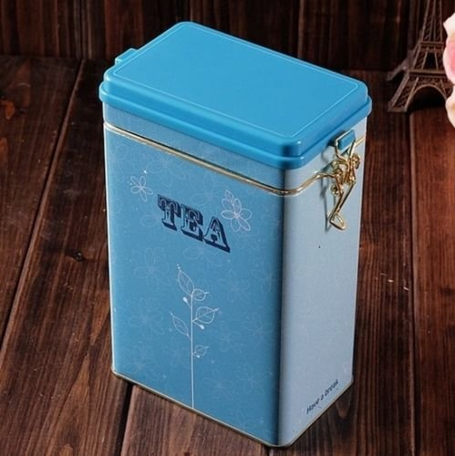 Decorations Jar with Lid Retro Large Sky Blue Tea Kitchen Coffee Tea Sealed Container Jar Tin Metal Decoration Home Decor 21.5cm X 12cm X 7.6cm 0