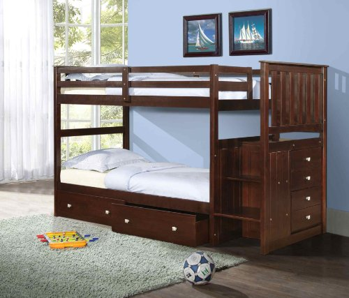 Twin over Twin Mission Stairway Bunk Bed in Cappuccino