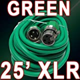 XLR Male to Female 3pin Mic Microphone Lo-z Extension Cable Cord (50ft Green)