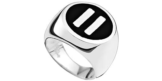 Lui de Clio pause Quentin Mosimann Biker Mens Signet Ring, 925 Sterling Silver, Enamel, 15.8 T66 g,