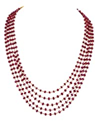 Gehna 5 Rows Of Ruby Gemstone Round Faceted Bead Knotted Necklace In .925 Solid Silver