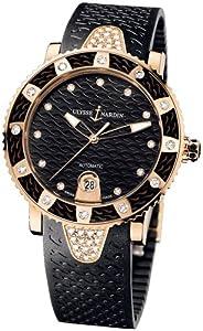 New Ladies Ulysse Nardin Marine Diamonds Lady Diver 18K Rose Gold Black Watch 8106-101E-3C/12
