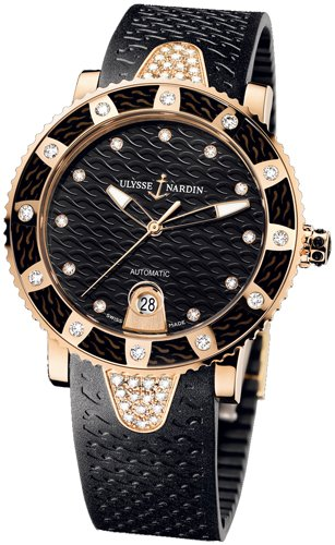 New Ladies Ulysse Nardin Marine Diamonds Lady Diver 18K Rose Gold Black Watch 8106-101E-3C/12
