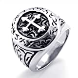 MARENJA Punk Jewellery Gift for Men Stainless Steel Vintage Classic Cross Ring with Pattern Gothic Rock Style Size U