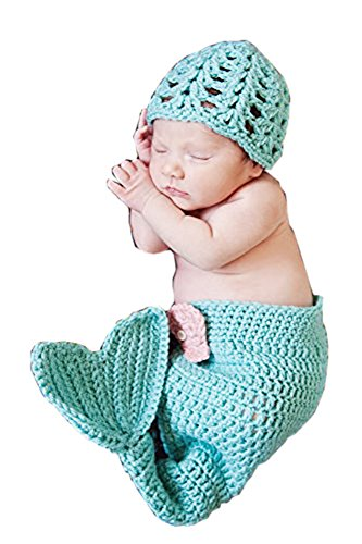 Pinbo Newborn Baby Photography Prop Crochet Knitted Costume Mermaid Hat Tail