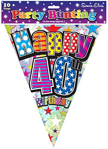 Happy 40th Birthday Party Flags Bunting