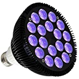 KINGBO 36W LED Blacklight Bulb E26 PAR38 with 18x2W UV 395nm LEDs for Home Party, Stage Lighting, Fishing Aquarium, Metallic Black DJ Blacklights Ultraviolet Bulb Auto Lighting Voice Control For Party (Color: 36w Uv Black Light)