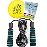 Jump Rope Set by Nona Active: Tanglefree, Adjustable Rope with Non-Slip Handles for Kids and Adults Plus Skipping Songs Book, Flying Disc, and Bag