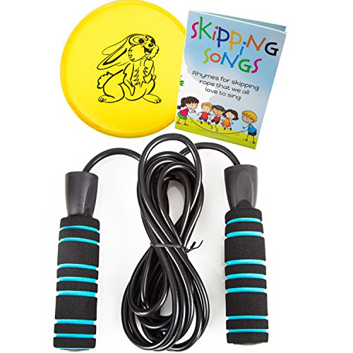 Jump Rope Set by Nona Active: Tanglefree, Adjustable Rope with Non-Slip Handles for Kids and Adults Plus Skipping Songs Book, Flying Disc, and Bag (Kids Jump Ropes compare prices)