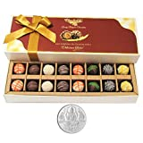 Chocholik Belgium Chocolates - 16pc Designer Box Of Truffles With 5gm Pure Silver Coin - Gifts For Diwali