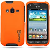 CoverON® Matte Snap-On NEON ORANGE RUBBERIZED Hard Case Cover For SAMSUNG I547 GALAXY RUGBY PRO With PRY-Triangle Case Removal Tool [WCJ439]