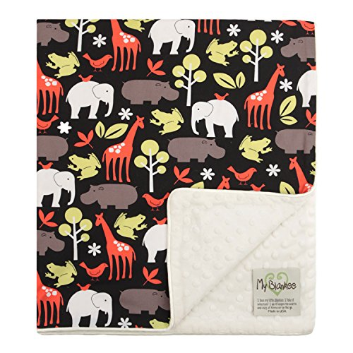 "My Blankee Zoology Organic Cotton Black w/ Minky Dot Cream Baby Blanket, 30"" X 35"""