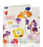 Thank You Watercolour Flowers Greeting Card