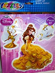 Yazzles Disney Princess Belle Light-Up Biggie Badge 3 Piece Set