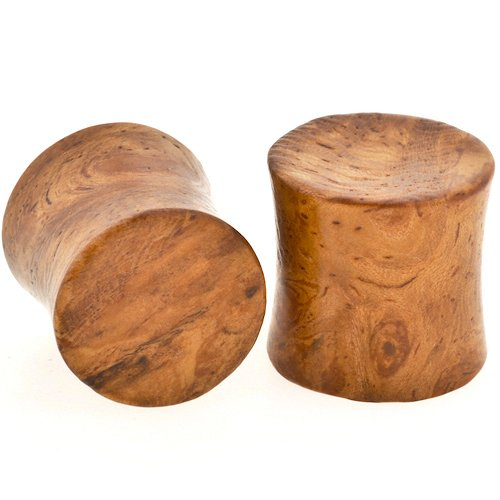 Pair of Ambonya Burl Wood Double Flared Concave Plugs: 0g