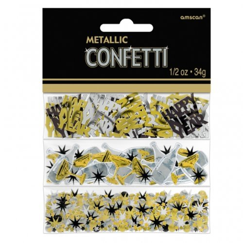 Happy New Year Black, Silver & Gold Triple Pack Confetti