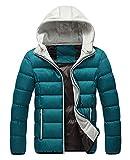 (プチプライム) Petit Prime メンズ ダウンジャケット ポリエステル 秋冬 スリム 防寒 中綿 フード取り外し可能 ストリート カジュアル アウター ショート 3色 5サイズ (L, ブルー)