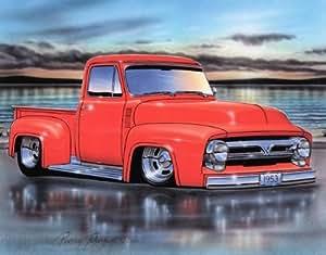 Amazon.com: 1953 Ford F100 Pickup Classic Truck Art Print Orange 11x14
