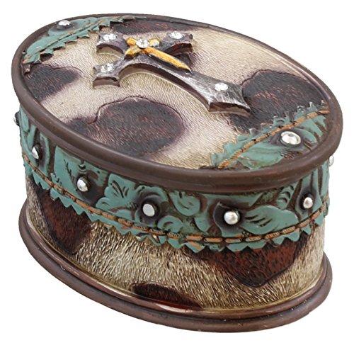 Western Layered Rhinestone Cross Jewelry Ring Trinket Box - Faux Cowhide Leather