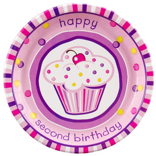 Girl's Lil' Cupcake 2nd Birthday Dinner Plates (8) - 1