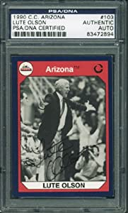 ARIZONA LUTE OLSON AUTHENTIC SIGNED CARD 1990 C.C. ARIZONA #103 PSA DNA SLABBED by Press Pass Collectibles