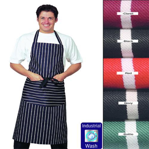 large-dennys-striped-bib-apron-with-pocket-100-cotton-long-ties-various-colours-available-red