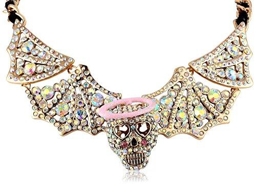 Betsey Johnson Angel Devil Skull Angel Wing Necklace