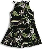 Party Swirl Hawaiian Aloha Drawstring Drop Waist Halter Dress in Black - 12