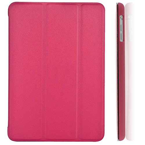KHOMO iPad Mini/Mini 2 Retina/Mini 3 Case - DUAL Dark Pink Super Slim Twill Texture Cover with Rubberized back and Smart Feature (Built-in magnet for sleep/wake feature) For Apple iPad Mini Tablet (Ipad Mini Back Cover Pink compare prices)