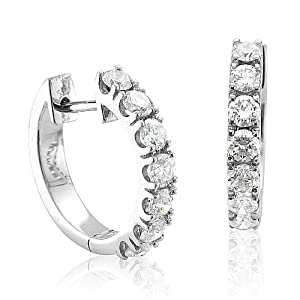 Click to buy 14K White Gold 7 Stone Hoop Diamond Earrings from Amazon!