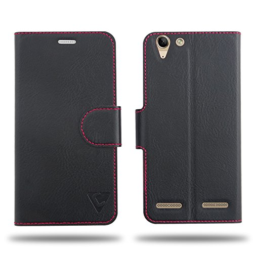 Cool Mango Compact Flip Cover for Lenovo K5 Plus - 100% Premium Faux Leather Flip Case for Lenovo Vibe K5 Plus with 360 Degree Stitching, Magnetic Lock, Card Currency Slot (Jet Black)