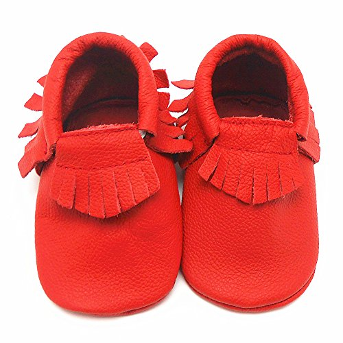 Sayoyo Baby Red Tassels Soft Sole Leather Infant Toddler Prewalker Shoes (12-18 months, Red) - 1