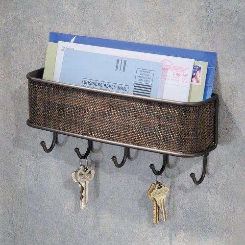 Interdesign wall mail letter key holder hook rack hanger - Letter rack and key holder ...