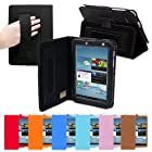 Snugg Galaxy Tab 2 7.0 Leather Case in Black - Flip Stand Cover with Elastic Strap and Premium Nubuck Fibre Interior for Samsung Galaxy Tab 2 7.0
