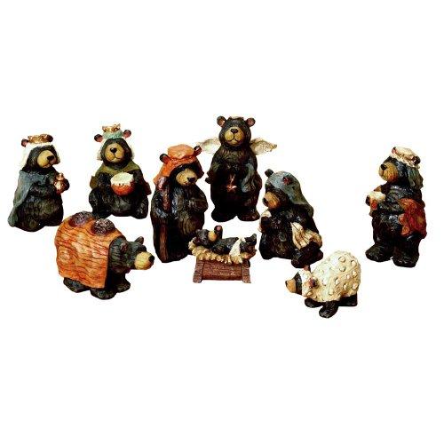 Kurt Adler Resin Nativity Bear, 4-Inch, Set of 9 (Bear Nativity Set compare prices)