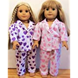 2 PAIRS Pink & Purple Heart Pajamas For 18 Inch Doll And American Girl !