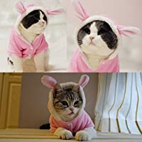 Bro'Bear Plush Rabbit Outfit with Hood & Bunny Ears for Small Dogs & Cats Pink