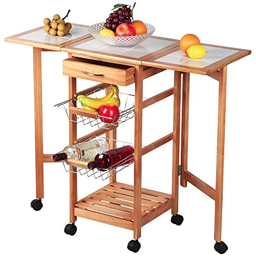 Topeakmart Portable Rolling Drop Leaf Kitchen Island Cart White Tile Top Folding Trolley Table, 1 Wood Drawer & 2 Steel Baskets (Wooden Cabinet On Wheels compare prices)