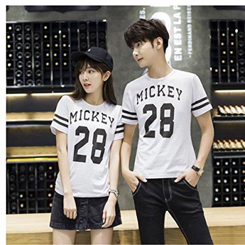 ペアルック ペア カップル Tシャツ ゆったりタイプ棉シャツ ディズニー Tシャツ レディース メンズ トップス 女の子 男の子  男女通用前:数字 バック:ミッキー柄 (2色展開)【S~XL】 (M, ホワイト)