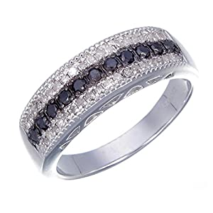 Sterling Silver Black and White Diamond Ring (0.70 CT) In Size 6