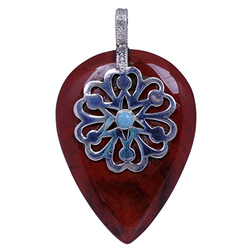 Poppy Jasper & Turquoise Gemstone Studded Pendant Made In .925 Solid Silver