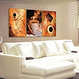 Spirit Up Art Large Coffee Picture Painting on Canvas Print Stretched and Framed, Modern Home Decorations Wall Art set of 3 Each is 40*60cm #05-JD-118