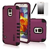 S5 Case, SGM 3-Piece High Impact Hybrid Defender Case For Samsung Galaxy S5 With Screen Protector + Stylus (Purple + Black)